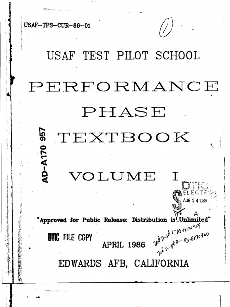Usaf Test Pilot School Performance Phase Textbook Volume1 Airspeed Bcit Mathematics Examples Electronics Trignometry And Vectors Airfoil