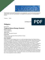 Typhoon Haiyan Damage Summary Manila Philippines, Global Agriculture Information Netowrk (GAIN), USDA/FAS,  Dec 4, 2013