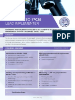 ISO 17025 Lead Implementer - Four Page Brochure