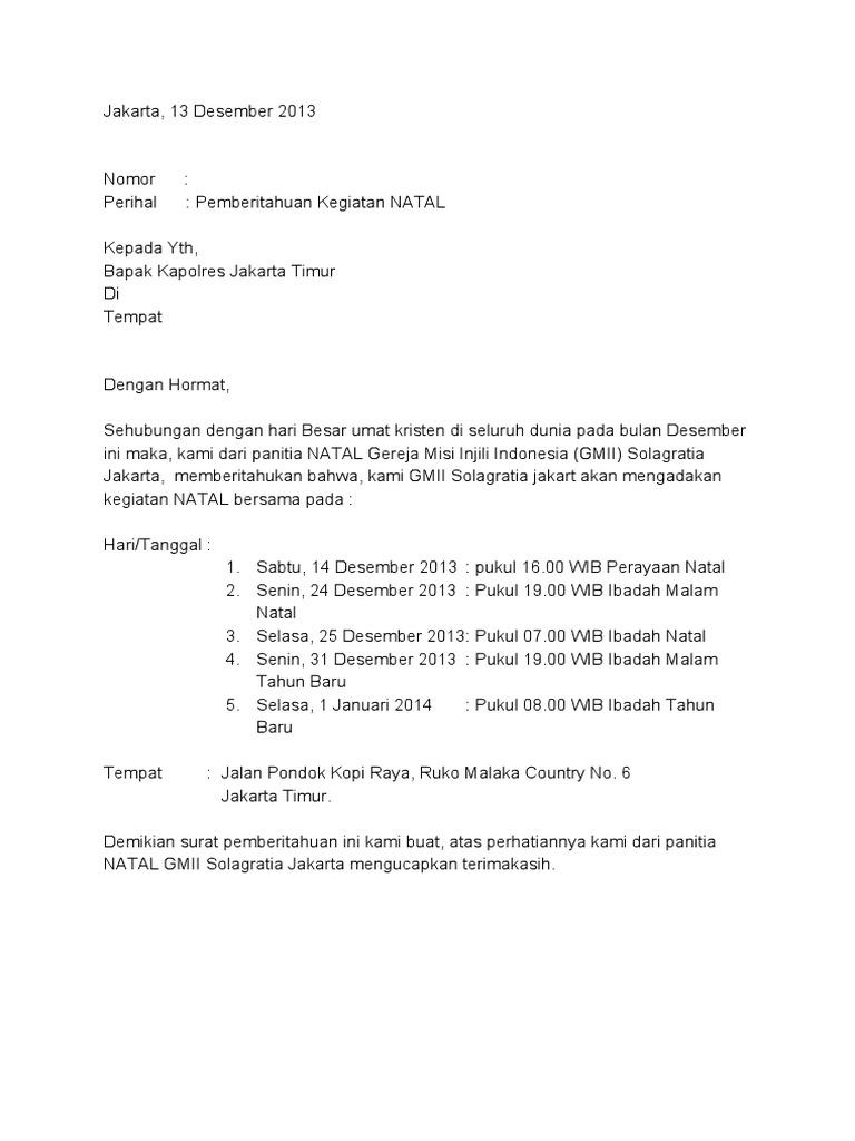Contoh Surat Pemberitahuan Kegiatan Pengajian