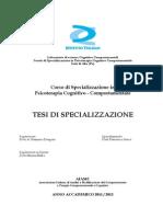 Tesi Di Specializzazione in Psicoterapia Cognitivo Comportamentale