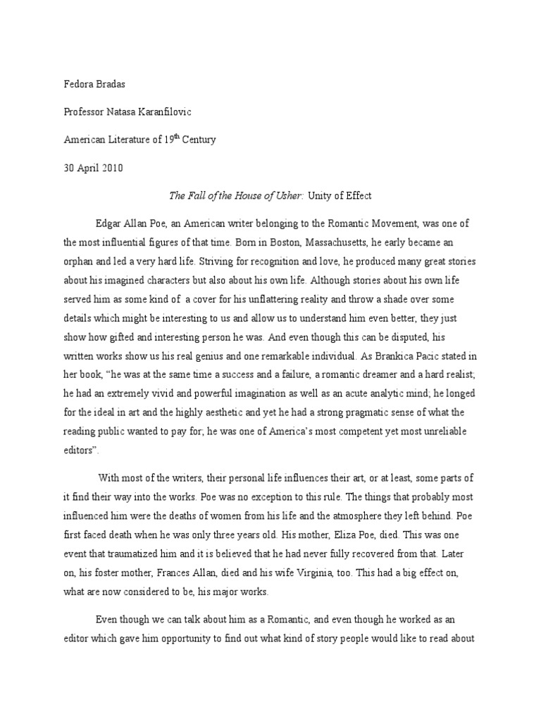 summary of the fall of the house of usher essay English essays: plot summary for the fall of the house of usher.