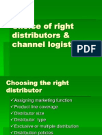 Choice of Right Distributors & Channel Logistics