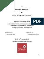Bank Selection Criteria
