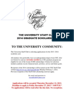 University Staff Club 2012 Scholarship Flyer