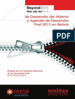 Objetivo de Desarrollo del Milenio y Agenda de desarrollo Post 2015 en Bolivia