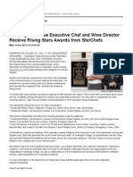 Fearrington House Executive Chef and Wine Director Receive Rising Stars Awards From StarChefs