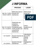 Cronongrama Examen de Suficiencia Nov 2013