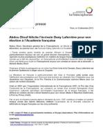 Abdou Diouf félicite l'écrivain Dany Laferrière pour son élection à l'Académie française