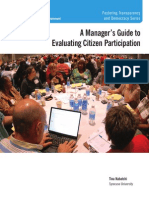 A Managers Guide to Evaluating Citizen Participation