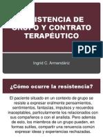 RESISTENCIA DE GRUPO Y CONTRATO TERAPÉUTICO