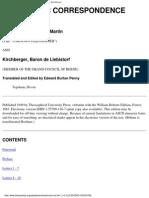 Theosophic-Correspondence Louis Claude de Saint-Martin Kirchberger, Baron de Liebistor