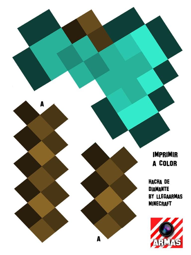 Plantilla Hacha De Diamante Minecraft Llegaarmas