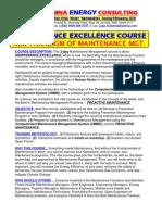 Maintenance Excellence Course Outline