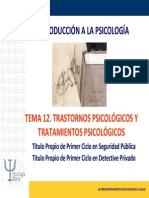 Tema 12. Trastornos Psicológicos y Tratamientos Psicológicos.