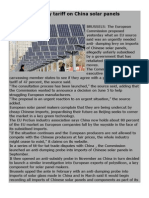 EU Readies Heavy Tariff on China Solar Panel1
