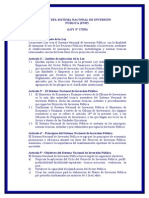 4) SNIP (Sistema Nacional de Inversión Pública) y su Reglamento
