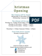 UCA Library Christmas Opening Schedule 2013