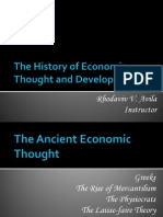 the history of economic thought and development