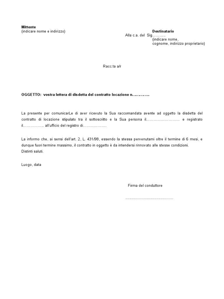 Lettera Disdetta Contratto Arrivata Fuori Termine Dal Locatore