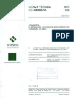 Ntc-550 - Elaboracion y Curado de Especimenens de Concreto en Obra