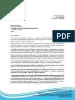 Carta Protesta de Marita Paz Dirigida a Rafael Correa