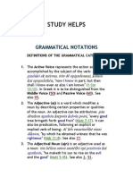 Grammatical Notations - Definition of the Grammatical Categories