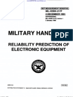 MIL-HDBK-217F Reliability Prediction for Electronic Equipment