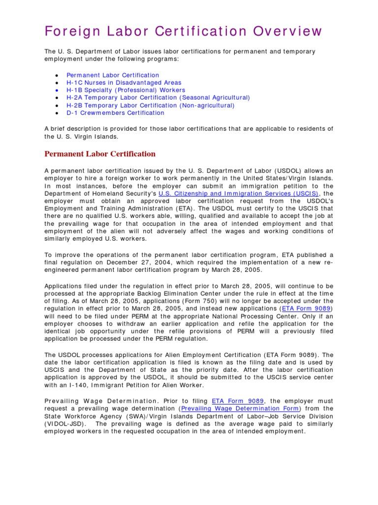 Department of Labor: FLC | H 1 B Visa | Labor