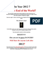 The Year 2012 In End Time Prophecy