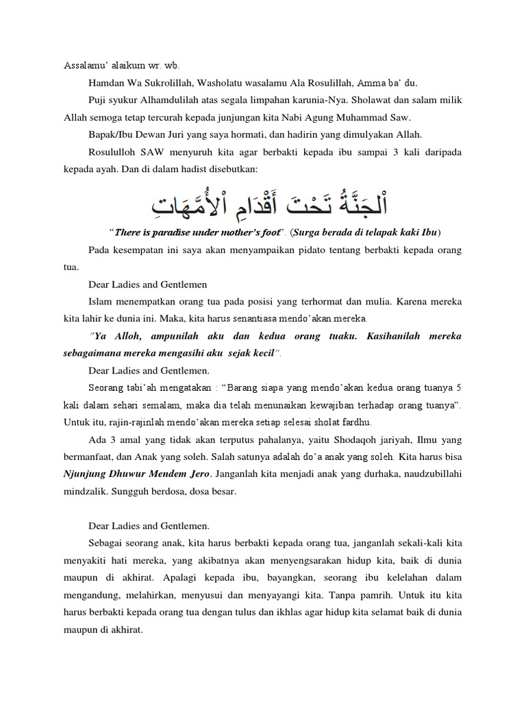 Pidato Alfiyan Adab Kepada Orang Tua
