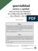 Imparcialidad Financiera y Equidad Otra Lectura Informe OMS