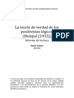 Informe de lectura - La teoría de la verdad de los positivistas lógicos