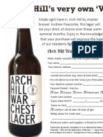 Arch Hill War Chest Lager order form
