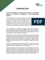 Comunicado Sismologia SSN