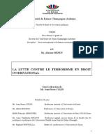 La Lutte Contre Le Terrorisme en Droit International