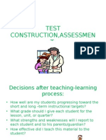 Test Construction,Assessment,Intervention & Feed Backing
