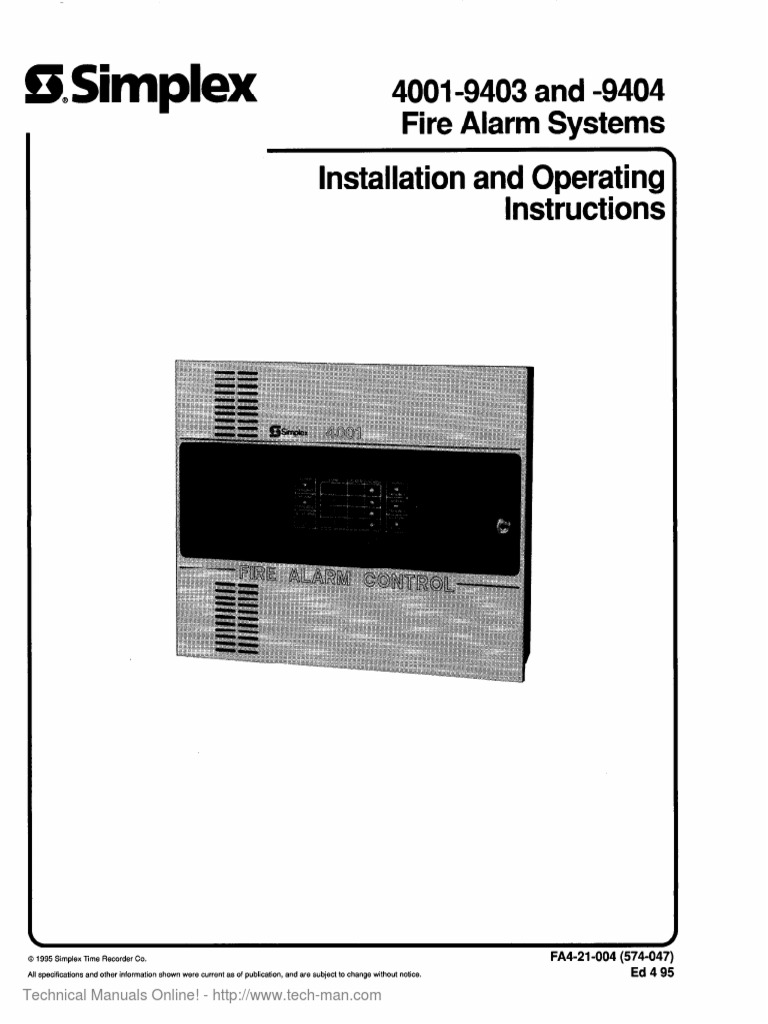 4001 9403 9404 installation operating manual electrical wiring relay rh pt scribd com Simplex 4100 Simplex 4100