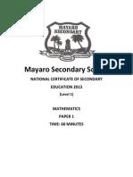 Form 3 Mock Exams 2013 p1