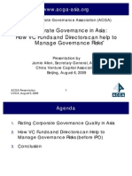 Corporate Governance in Asia - How VC Funds and Directors Can Help to Manage Governance Risks 6-August-2009 - Asian Corporate Governance Association