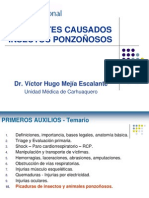 PRIMEROS AUXILIOS - 10 ACCIDENTES POR INSECTOS PONZOÑOSOS