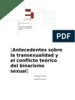 Antecedentes sobre la transexualidad y el conflicto teórico del binarismo sexual