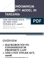 Tenga, r.w. 'the Condominium Property Model in Tanzania - The Significance of the Unit Titles Act, 2008' [Tls, Cle Workshop, Mwanza, 19th June '09]