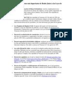 Principales aportaciones más importantes de Benito Juárez a las Leyes de nuestro País
