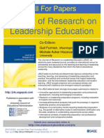 Call for Manuscripts, Journal of Research on Leadership Education (JRLE)