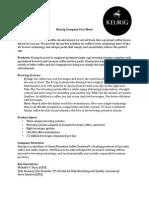 Keurig Fact Sheet