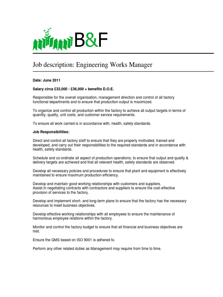Works Manager Job Description | Factory | Supply Chain