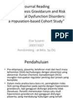 """Hyperemesis Gravidarum and Risk Of Placental Dysfunction Disorders a Population-based Cohort Study"
