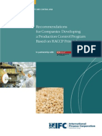 Recommendations for Companies Developing a Production Control Program Based on HACCP Principles