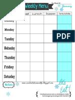 Weekly Menu Plan Printable- January